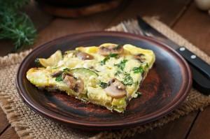 Cheesy Mushrooms and Zucchini Frittata